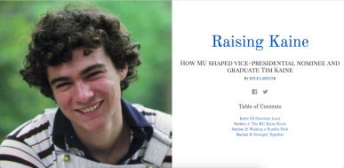 """Raising Kaine"" online spread designed by Reiker Seiffe/Maneater."