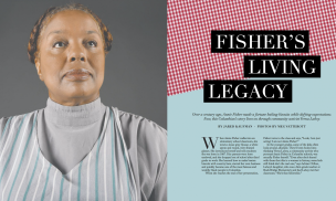 The front spread for my feature on Annie Fisher. Courtesy of Vox Magazine.